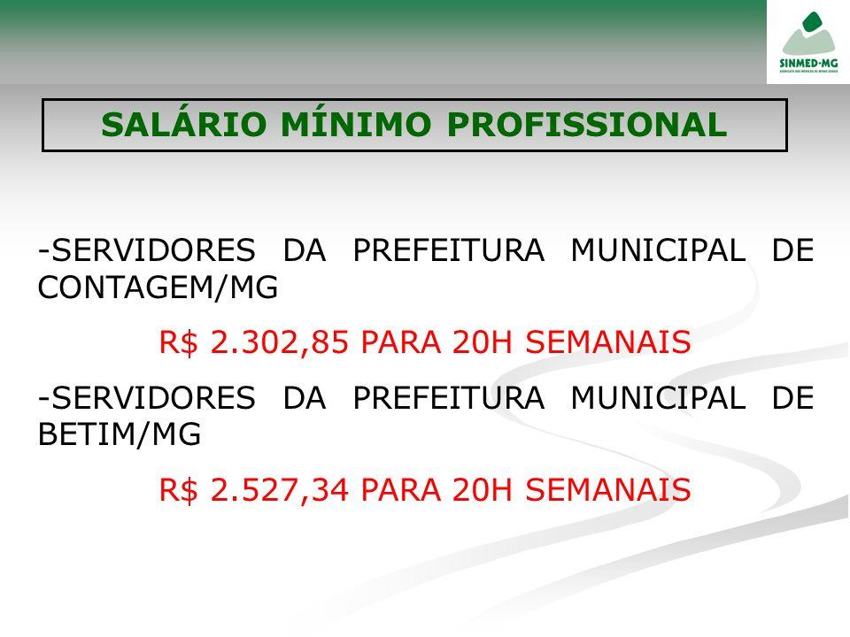 -SERVIDORES DA PREFEITURA MUNICIPAL DE CONTAGEM/MG R$ 2.302,85 PARA 20H SEMANAIS -SERVIDORES DA PREFEITURA MUNICIPAL DE BETIM/MG R$ 2.527,34 PARA 20H