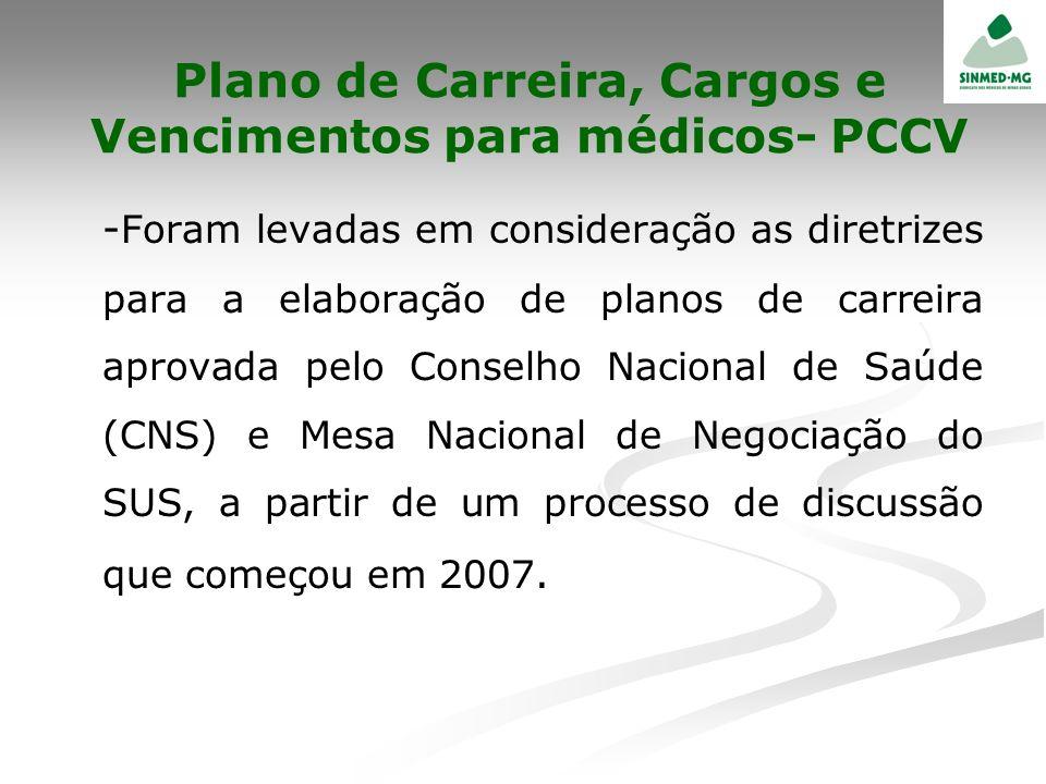 Plano de Carreira, Cargos e Vencimentos para médicos- PCCV - Foram levadas em consideração as diretrizes para a elaboração de planos de carreira aprov
