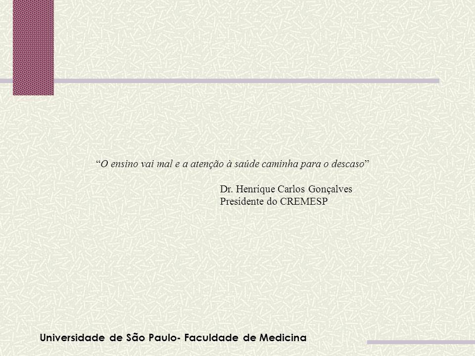 Universidade de São Paulo- Faculdade de Medicina O ensino vai mal e a atenção à saúde caminha para o descaso Dr. Henrique Carlos Gonçalves Presidente
