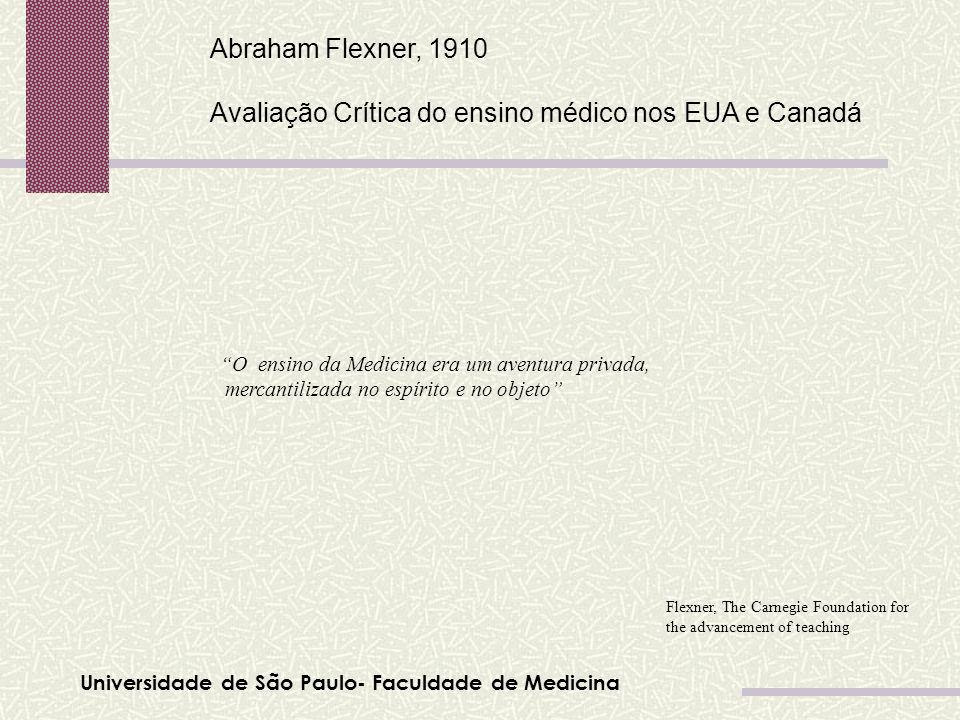 Universidade de São Paulo- Faculdade de Medicina Abraham Flexner, 1910 Avaliação Crítica do ensino médico nos EUA e Canadá Flexner, The Carnegie Found