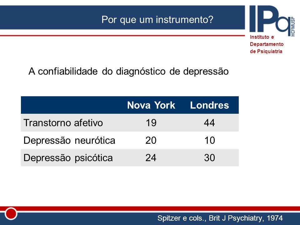 A confiabilidade do diagnóstico de depressão Nova YorkLondres Transtorno afetivo1944 Depressão neurótica2010 Depressão psicótica2430 Spitzer e cols.,
