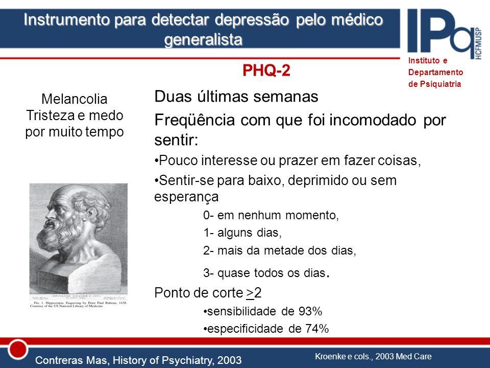 Instrumento para detectar depressão pelo médico generalista Melancolia Tristeza e medo por muito tempo Contreras Mas, History of Psychiatry, 2003 Inst