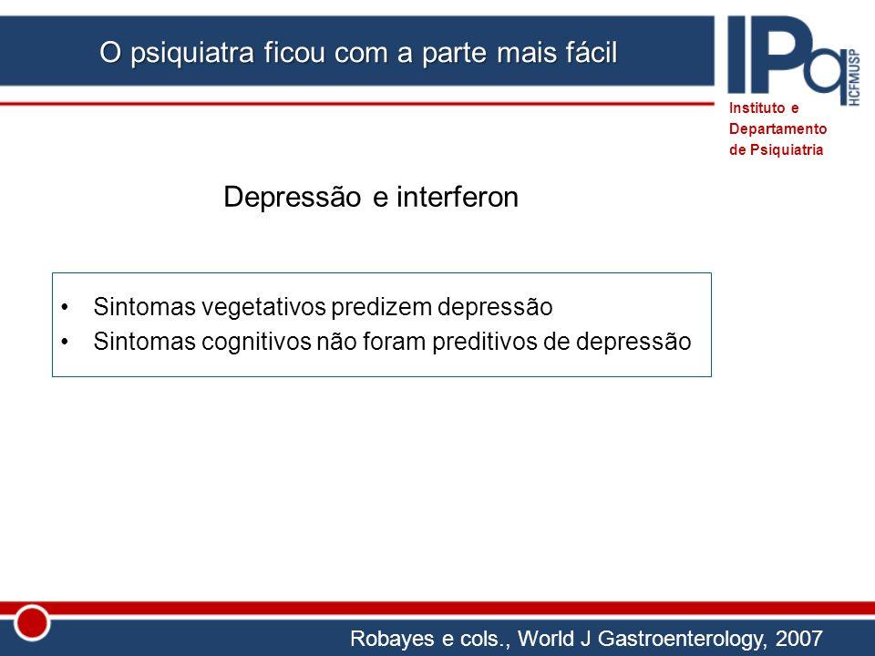 Sintomas vegetativos predizem depressão Sintomas cognitivos não foram preditivos de depressão Depressão e interferon Instituto e Departamento de Psiqu