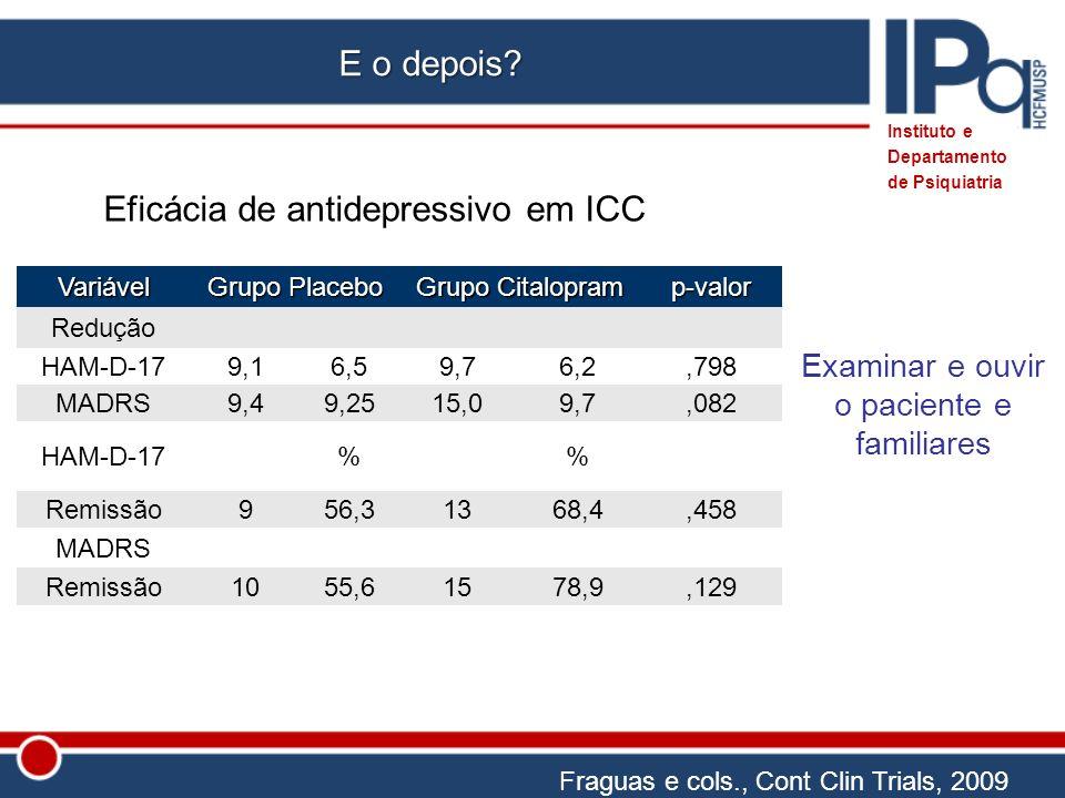 Eficácia de antidepressivo em ICC Fraguas e cols., Cont Clin Trials, 2009 Variável Grupo Placebo Grupo Citalopram p-valor Redução HAM-D-17 9,16,59,76,