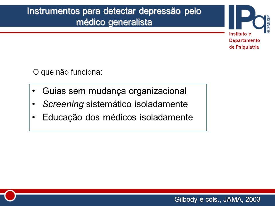 O que não funciona: Guias sem mudança organizacional Screening sistemático isoladamente Educação dos médicos isoladamente Gilbody e cols., JAMA, 2003