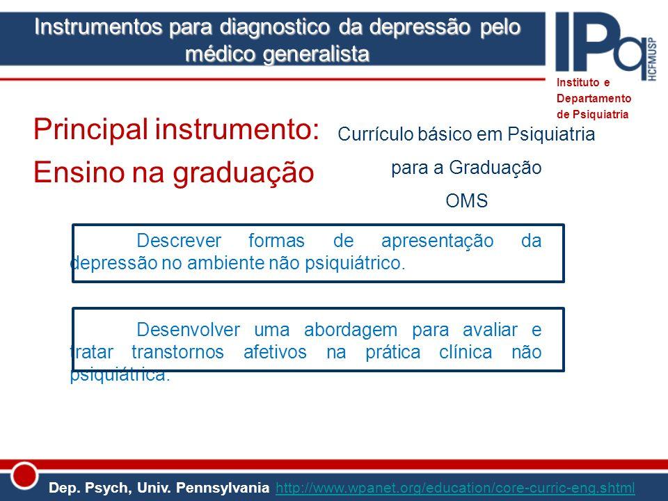 Instituto e Departamento de Psiquiatria Currículo básico em Psiquiatria para a Graduação OMS Descrever formas de apresentação da depressão no ambiente
