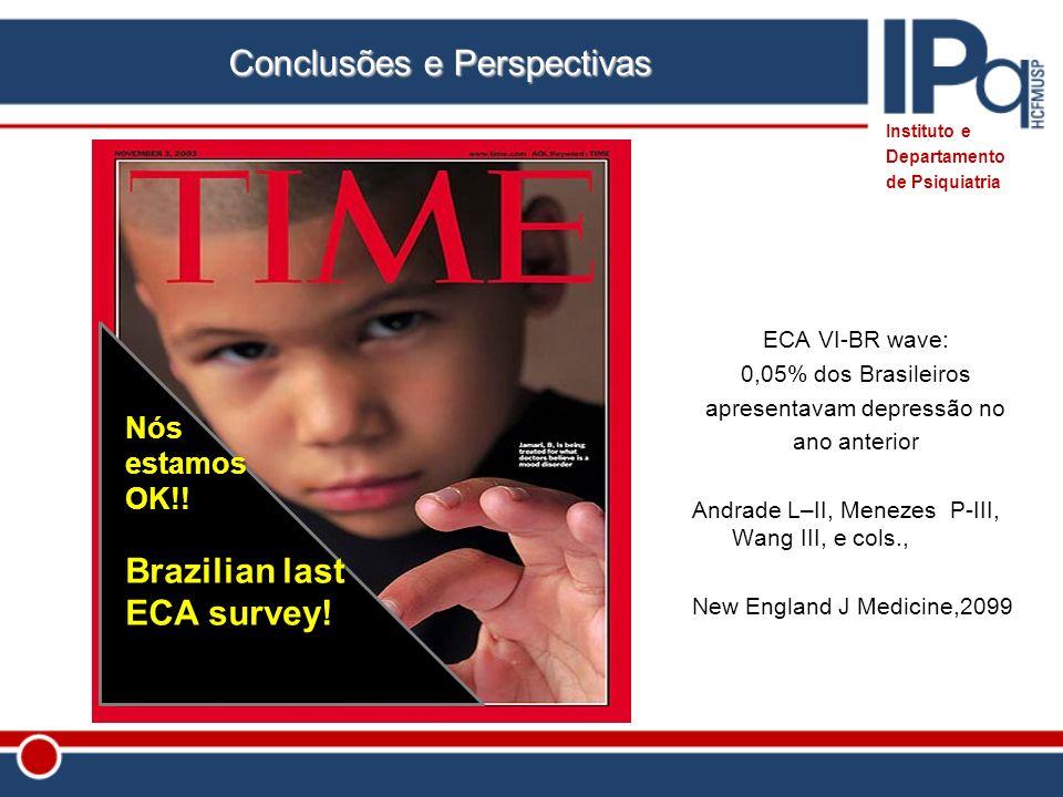 ECA VI-BR wave: 0,05% dos Brasileiros apresentavam depressão no ano anterior Andrade L–II, Menezes P-III, Wang III, e cols., New England J Medicine,20
