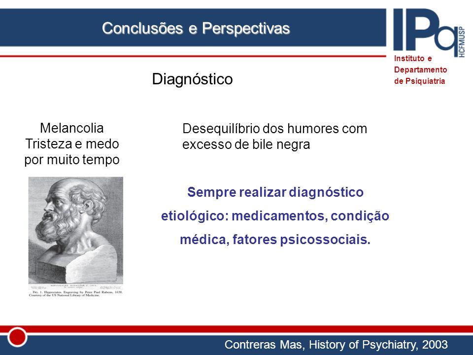 Conclusões e Perspectivas Diagnóstico Desequilíbrio dos humores com excesso de bile negra Melancolia Tristeza e medo por muito tempo Contreras Mas, Hi