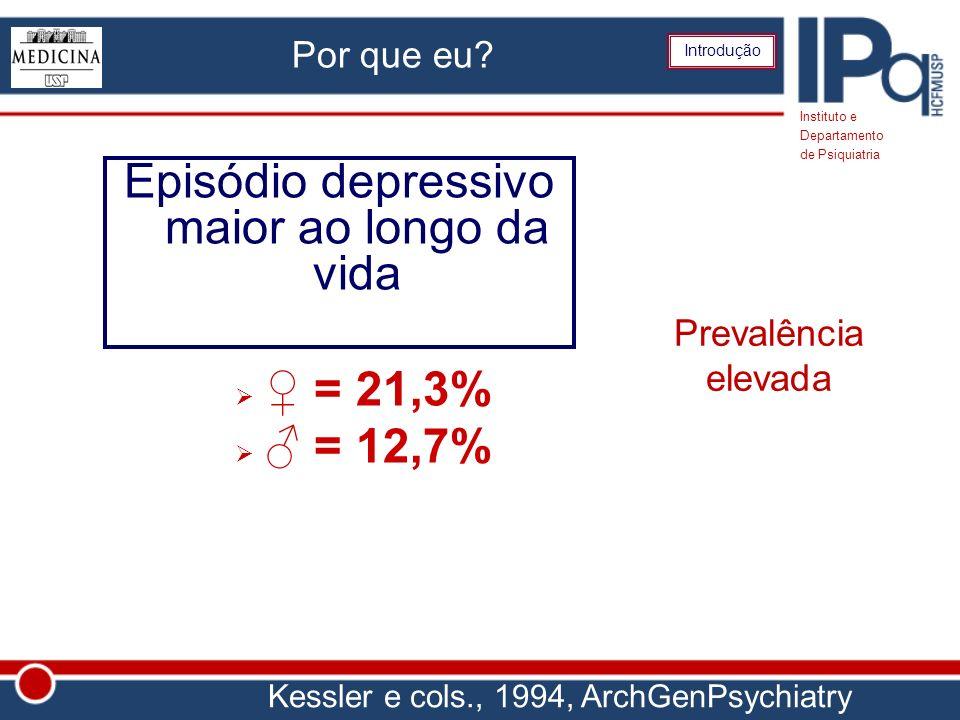 Por que eu? Episódio depressivo maior ao longo da vida = 21,3% = 12,7% Instituto e Departamento de Psiquiatria Introdução Prevalência elevada Kessler