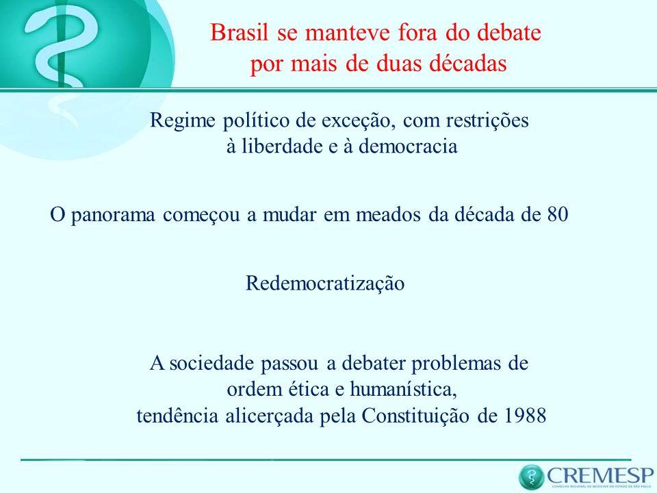 Brasil se manteve fora do debate por mais de duas décadas A sociedade passou a debater problemas de ordem ética e humanística, tendência alicerçada pe