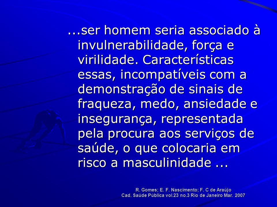 R.Gomes; E. F. Nascimento; F. C de Araújo Cad. Saúde Pública vol.23 no.3 Rio de Janeiro Mar.