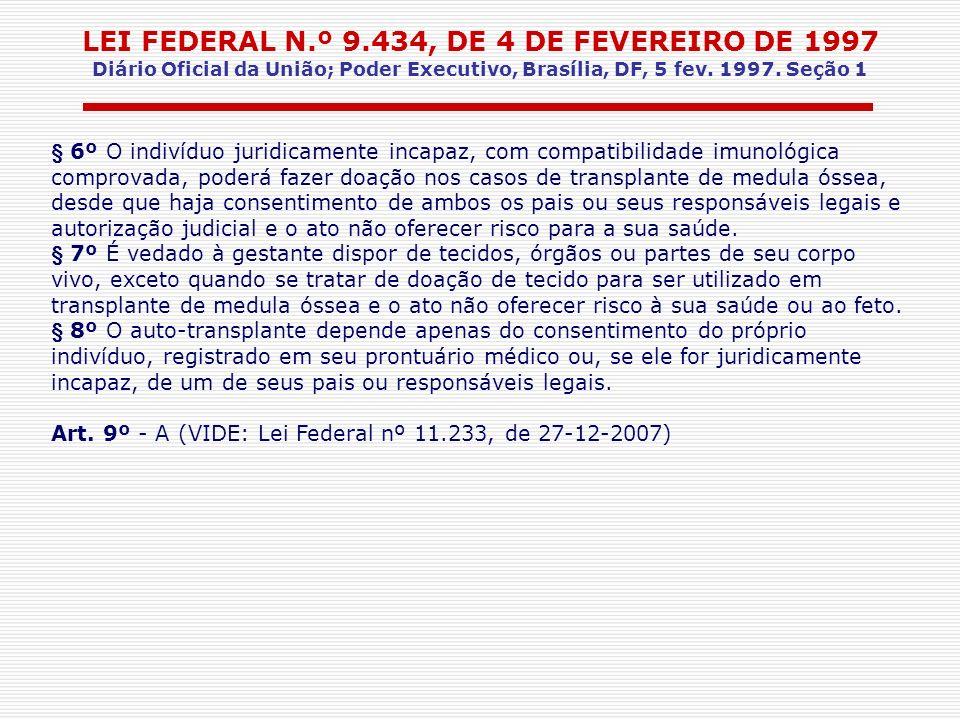 LEI FEDERAL N.º 9.434, DE 4 DE FEVEREIRO DE 1997 Diário Oficial da União; Poder Executivo, Brasília, DF, 5 fev. 1997. Seção 1 § 6º O indivíduo juridic