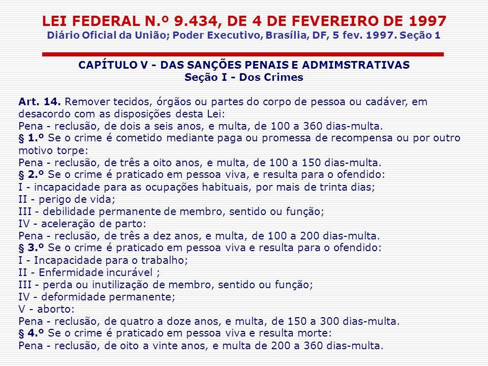 LEI FEDERAL N.º 9.434, DE 4 DE FEVEREIRO DE 1997 Diário Oficial da União; Poder Executivo, Brasília, DF, 5 fev. 1997. Seção 1 CAPÍTULO V - DAS SANÇÕES