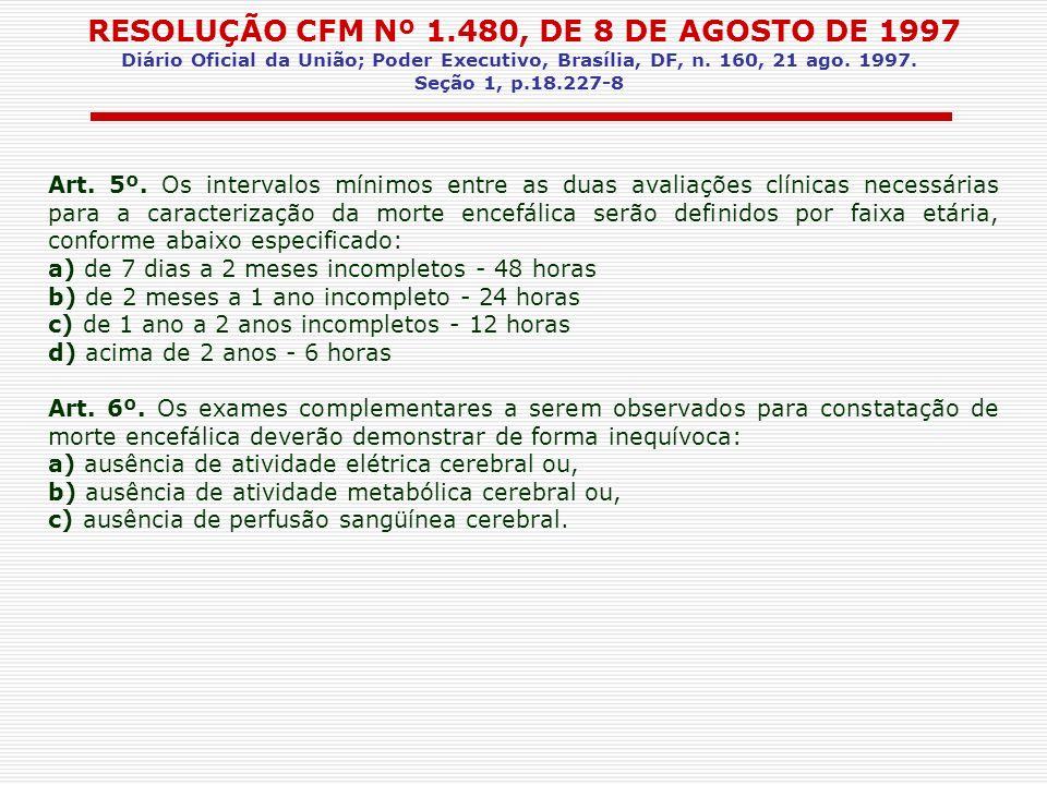 RESOLUÇÃO CFM Nº 1.480, DE 8 DE AGOSTO DE 1997 Diário Oficial da União; Poder Executivo, Brasília, DF, n. 160, 21 ago. 1997. Seção 1, p.18.227-8 Art.