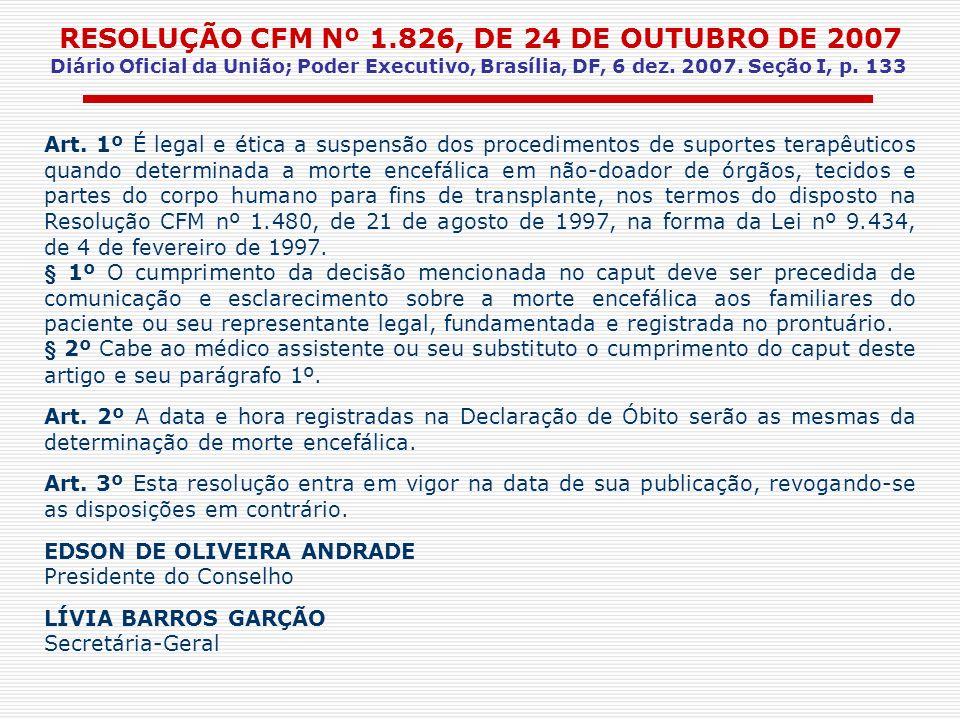 RESOLUÇÃO CFM Nº 1.826, DE 24 DE OUTUBRO DE 2007 Diário Oficial da União; Poder Executivo, Brasília, DF, 6 dez. 2007. Seção I, p. 133 Art. 1º É legal
