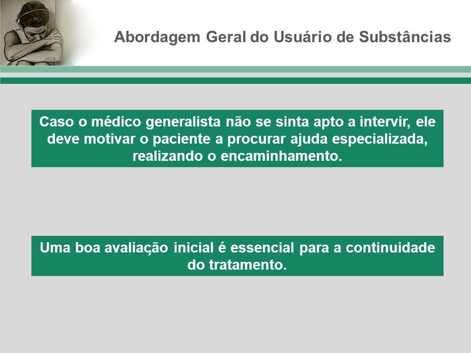 Abordagem Geral do Usuário de Substâncias Caso o médico generalista não se sinta apto a intervir, ele deve motivar o paciente a procurar ajuda especia