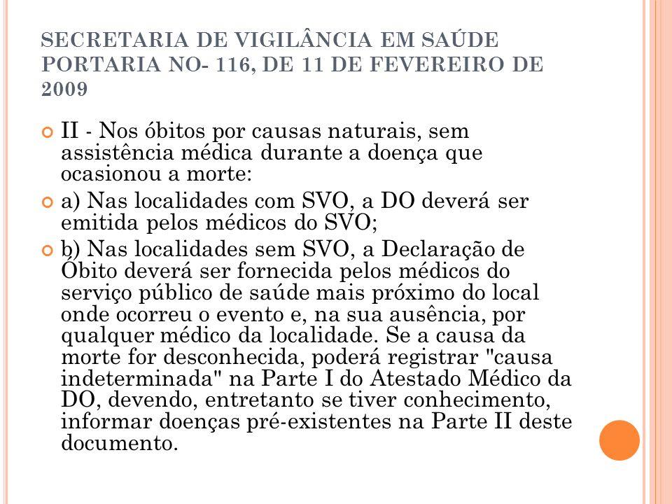 SECRETARIA DE VIGILÂNCIA EM SAÚDE PORTARIA NO- 116, DE 11 DE FEVEREIRO DE 2009 II - Nos óbitos por causas naturais, sem assistência médica durante a d