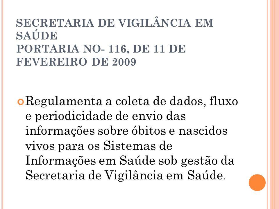 SECRETARIA DE VIGILÂNCIA EM SAÚDE PORTARIA NO- 116, DE 11 DE FEVEREIRO DE 2009 Regulamenta a coleta de dados, fluxo e periodicidade de envio das infor