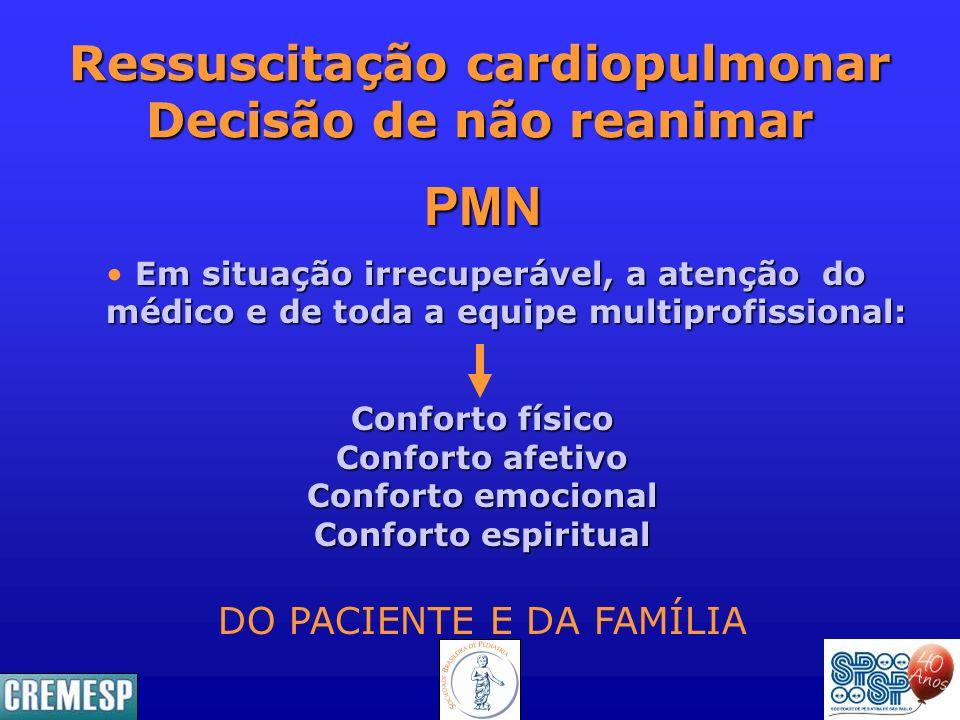 Ressuscitação cardiopulmonar Decisão de não reanimar Conforto físico Conforto afetivo Conforto emocional Conforto espiritual DO PACIENTE E DA FAMÍLIA