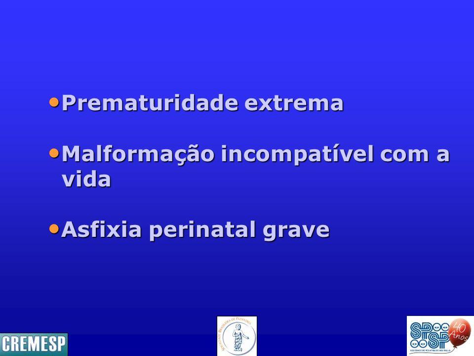 Prematuridade extrema Prematuridade extrema Malformação incompatível com a Malformação incompatível com a vida vida Asfixia perinatal grave Asfixia pe