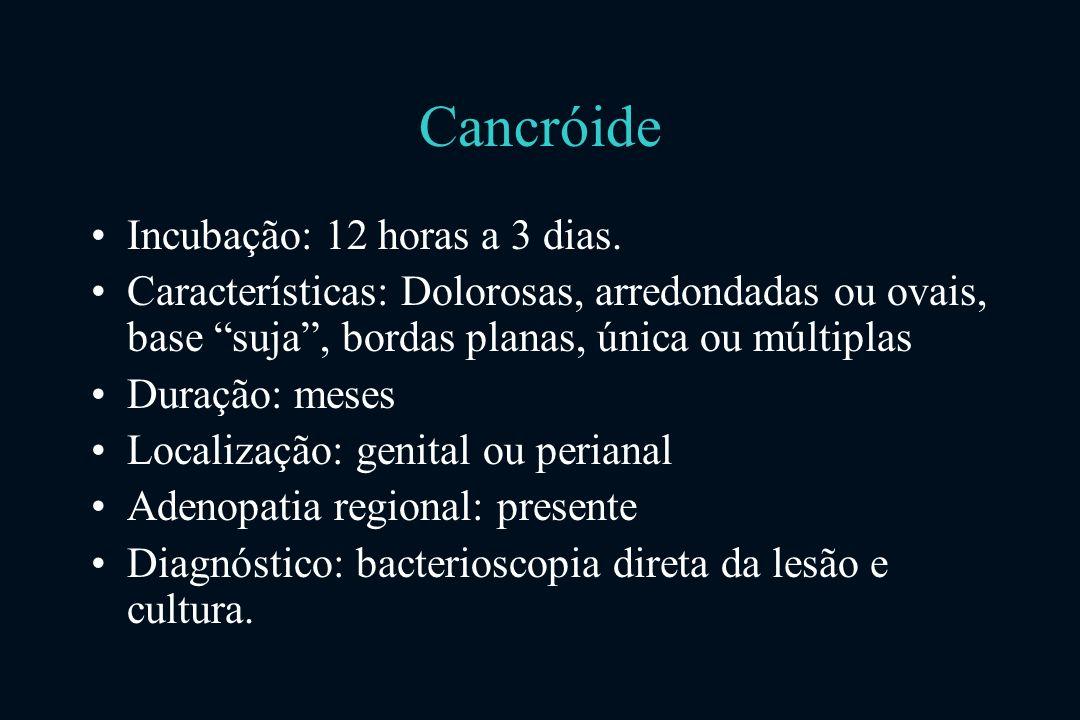 Cancróide Incubação: 12 horas a 3 dias.