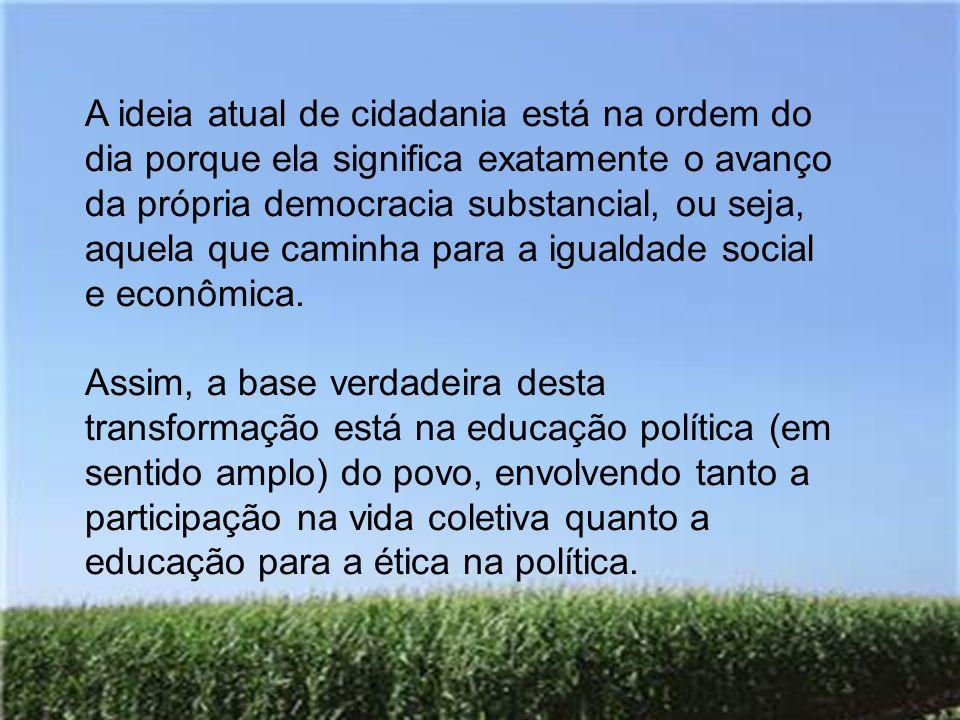 A ideia atual de cidadania está na ordem do dia porque ela significa exatamente o avanço da própria democracia substancial, ou seja, aquela que caminh