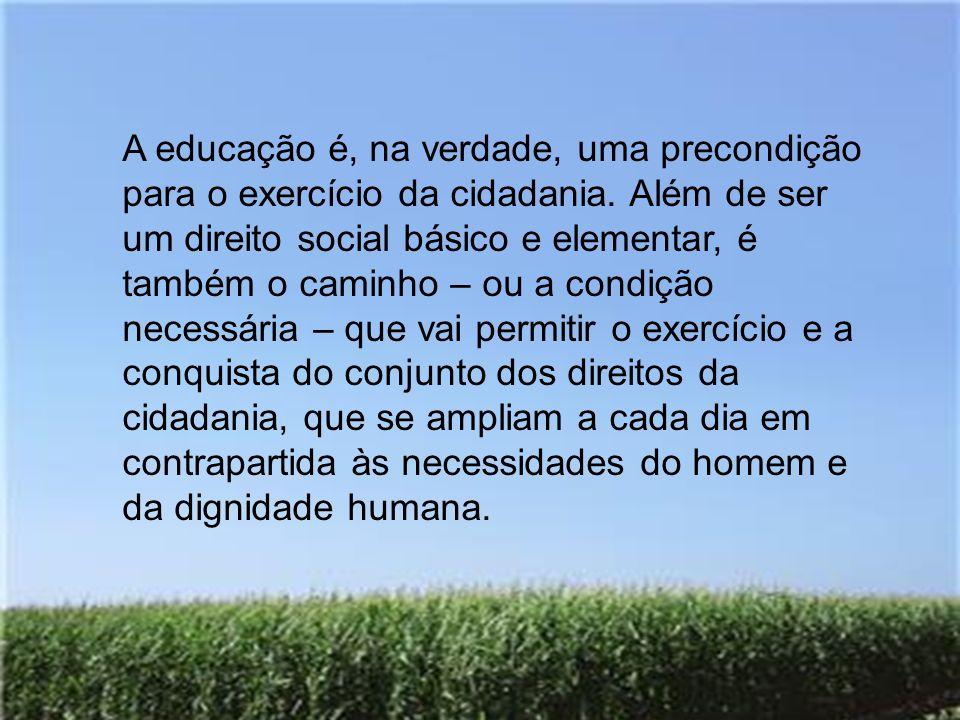 A educação é, na verdade, uma precondição para o exercício da cidadania. Além de ser um direito social básico e elementar, é também o caminho – ou a c