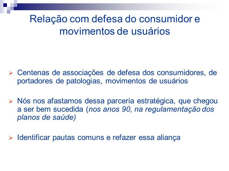 Relação com defesa do consumidor e movimentos de usuários Centenas de associações de defesa dos consumidores, de portadores de patologias, movimentos