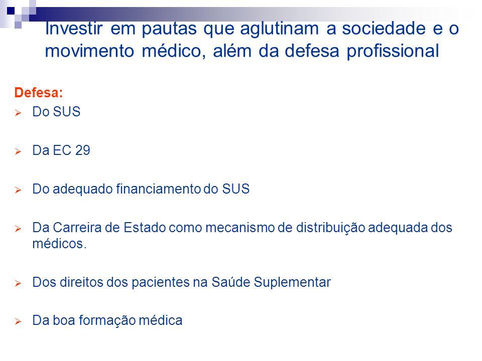 Investir em pautas que aglutinam a sociedade e o movimento médico, além da defesa profissional Defesa: Do SUS Da EC 29 Do adequado financiamento do SUS Da Carreira de Estado como mecanismo de distribuição adequada dos médicos.
