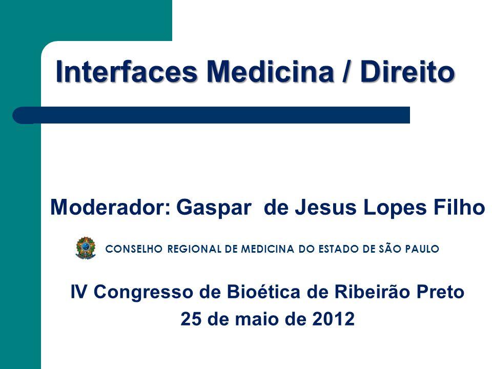 Interfaces Medicina / Direito Moderador: Gaspar de Jesus Lopes Filho IV Congresso de Bioética de Ribeirão Preto 25 de maio de 2012 CONSELHO REGIONAL D