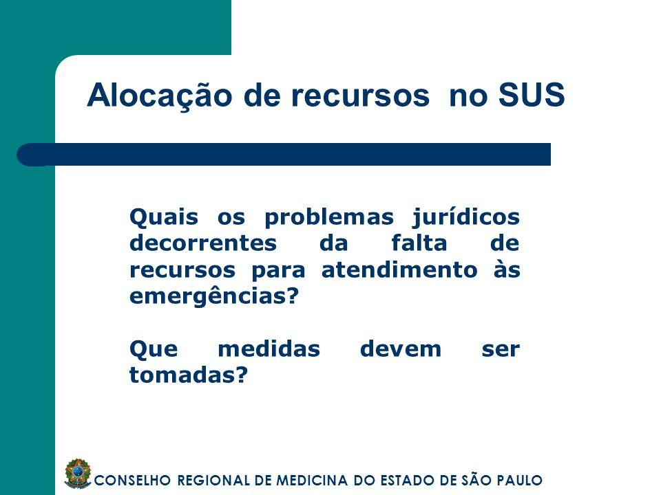 Alocação de recursos no SUS CONSELHO REGIONAL DE MEDICINA DO ESTADO DE SÃO PAULO Quais os problemas jurídicos decorrentes da falta de recursos para at