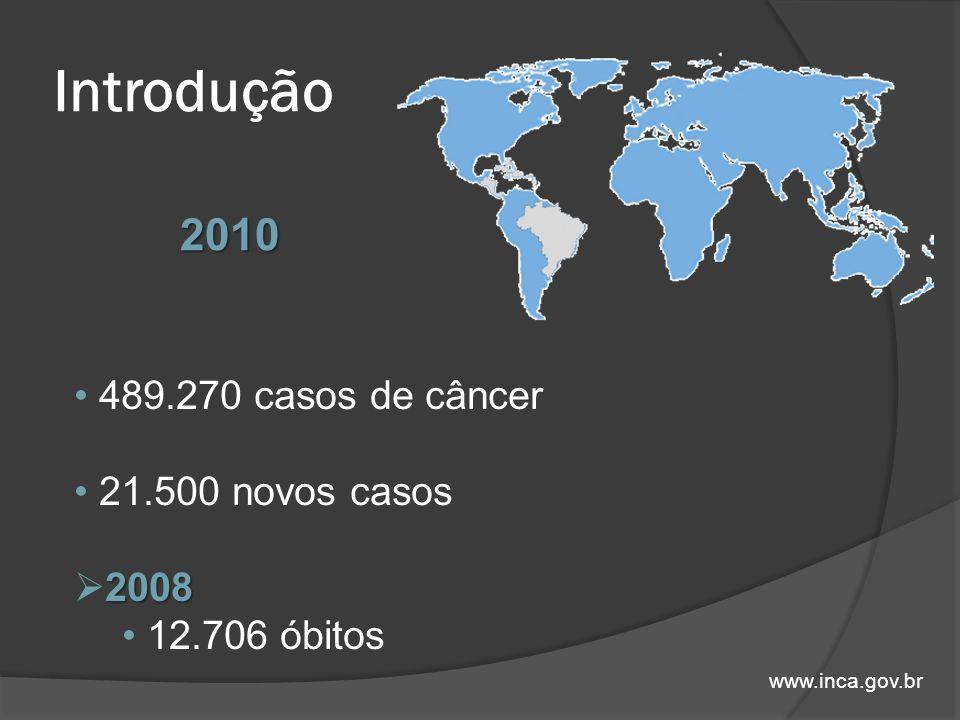 Introdução www.inca.gov.br 489.270 casos de câncer 21.500 novos casos 2008 12.706 óbitos 2010
