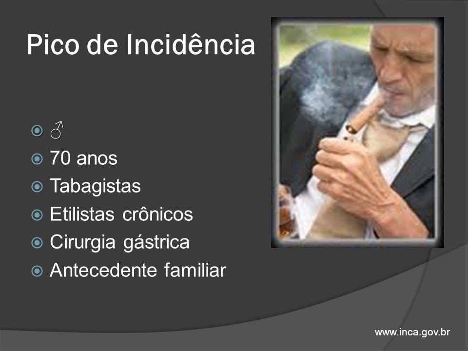 Pico de Incidência 70 anos Tabagistas Etilistas crônicos Cirurgia gástrica Antecedente familiar www.inca.gov.br