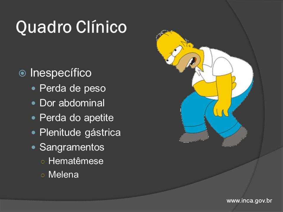 Quadro Clínico Inespecífico Perda de peso Dor abdominal Perda do apetite Plenitude gástrica Sangramentos Hematêmese Melena www.inca.gov.br