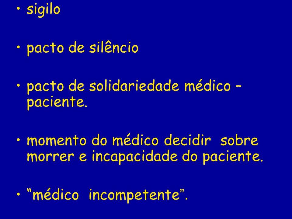 sigilo pacto de silêncio pacto de solidariedade médico – paciente. momento do médico decidir sobre morrer e incapacidade do paciente. médico incompete