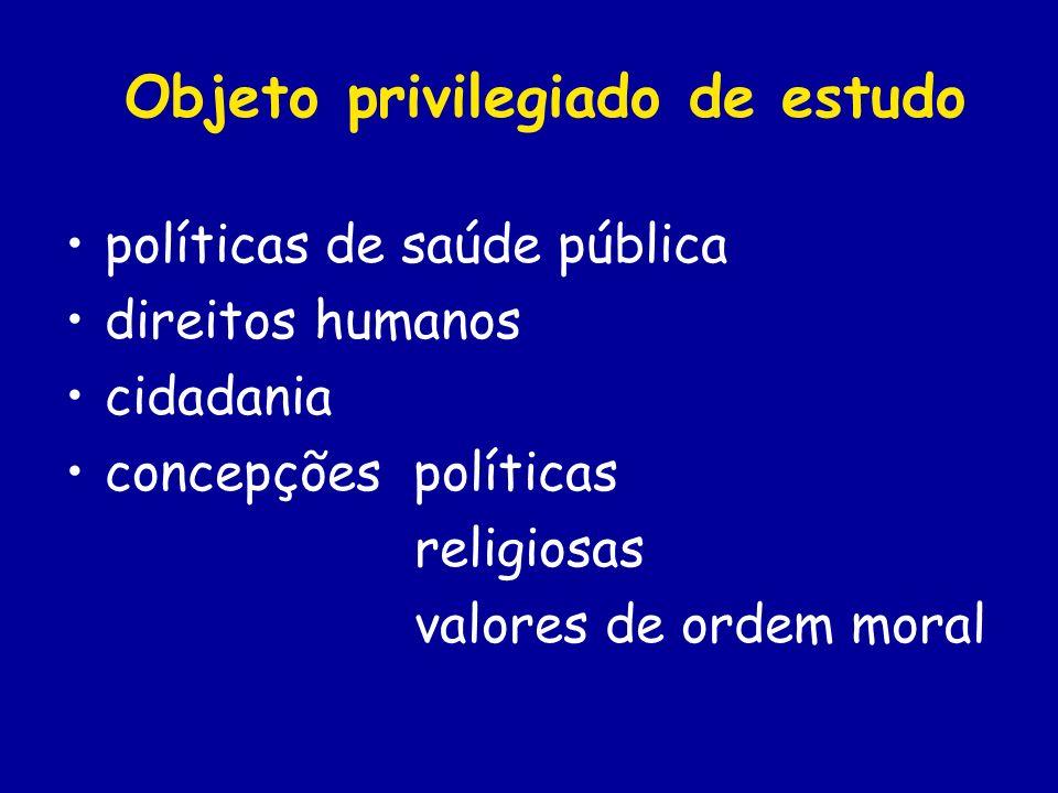 Objeto privilegiado de estudo políticas de saúde pública direitos humanos cidadania concepções políticas religiosas valores de ordem moral