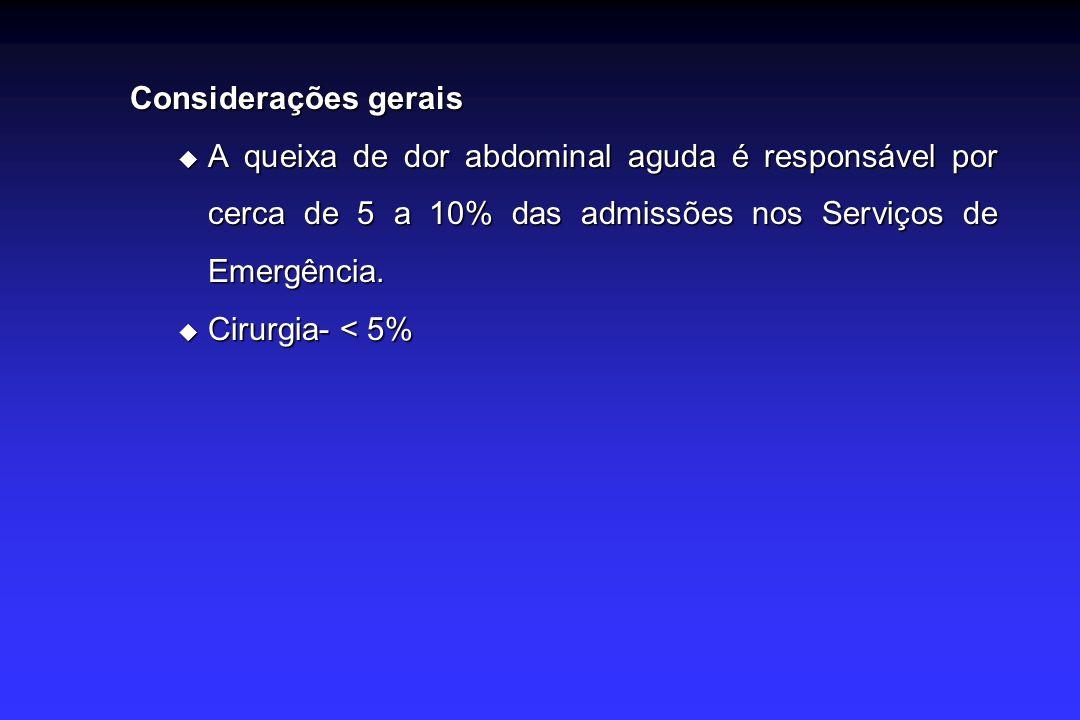 Considerações gerais Em até 30% dos casos não se consegue chegar ao diagnóstico etiológico (dor abdominal de origem indeterminada).