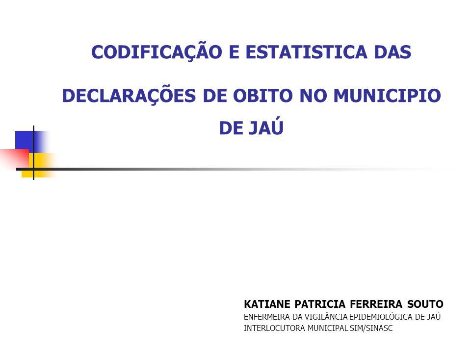 Introdução CODIFICAÇÃO EM MORTALIDADE Padronizar estatísticas de mortalidade segundo a CAUSA DA MORTE Necessário selecionar a CAUSA BÁSICA DA MORTE.
