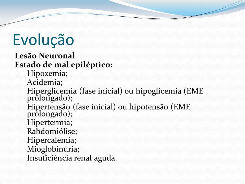 Evolução Lesão Neuronal Estado de mal epiléptico: Hipoxemia; Acidemia; Hiperglicemia (fase inicial) ou hipoglicemia (EME prolongado); Hipertensão (fas