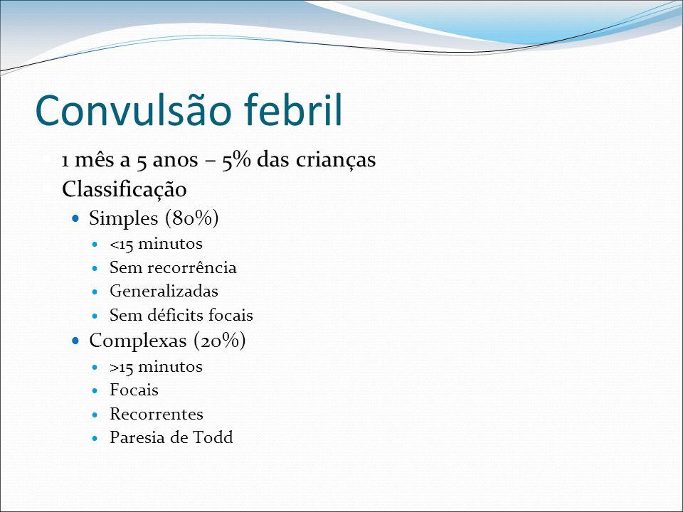 Convulsão febril 1 mês a 5 anos – 5% das crianças Classificação Simples (80%) <15 minutos Sem recorrência Generalizadas Sem déficits focais Complexas
