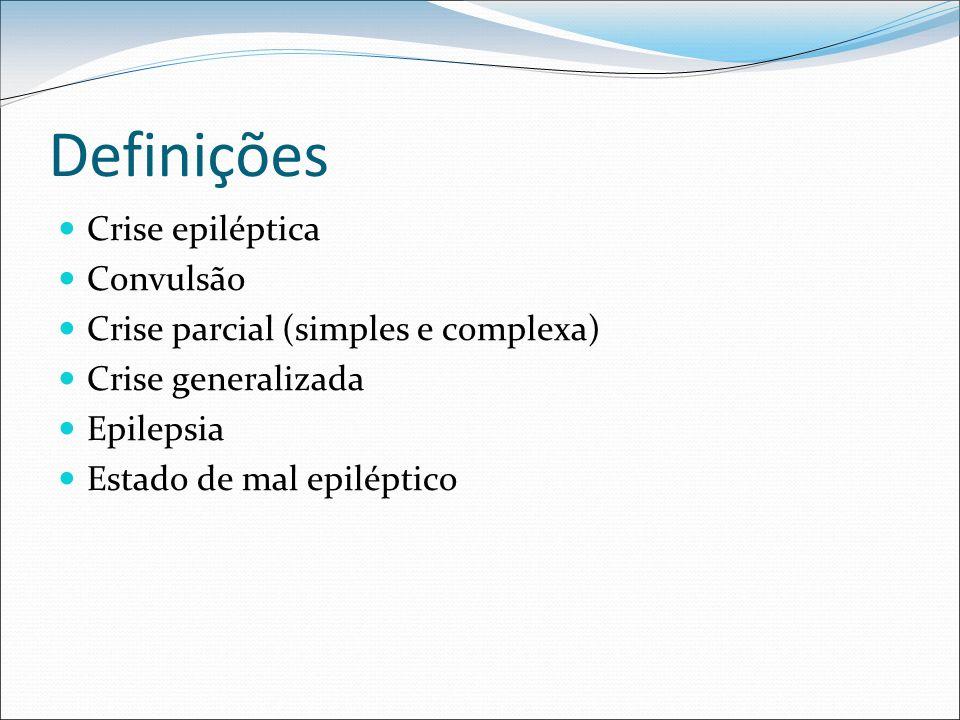 Definições Crise epiléptica Convulsão Crise parcial (simples e complexa) Crise generalizada Epilepsia Estado de mal epiléptico