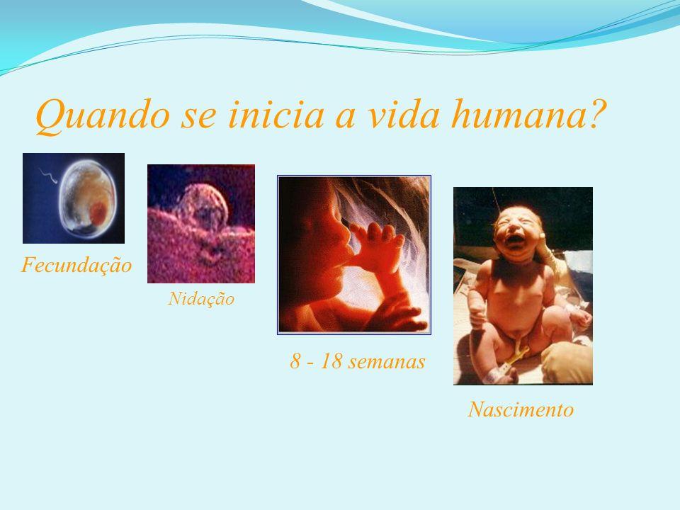Quando se inicia a vida humana? Fecundação 8 - 18 semanas Nascimento Nidação