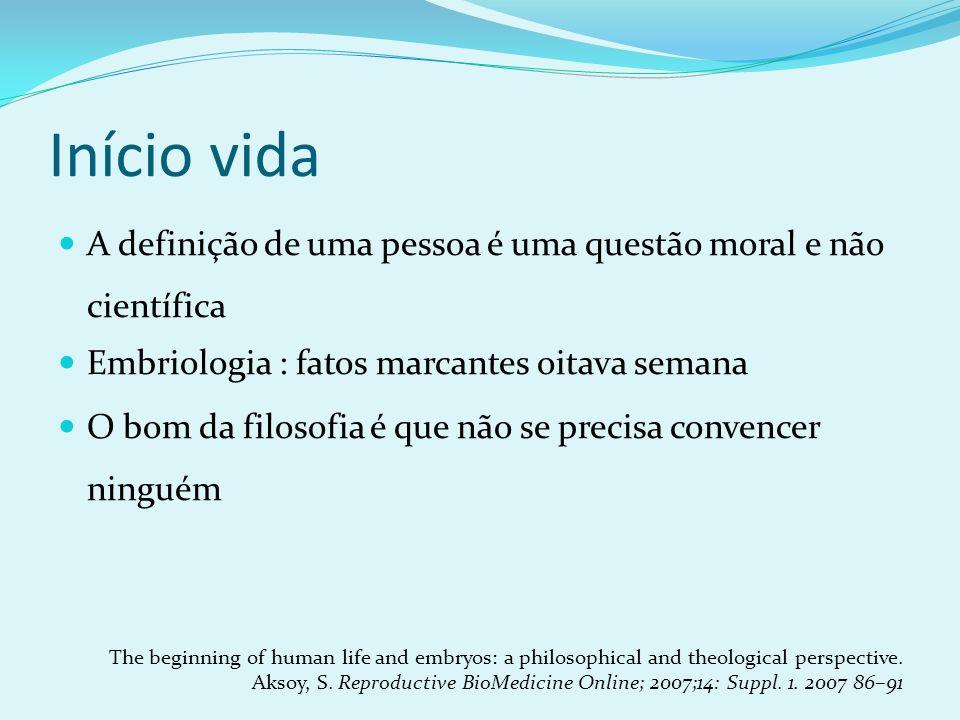 Início vida A definição de uma pessoa é uma questão moral e não científica Embriologia : fatos marcantes oitava semana O bom da filosofia é que não se
