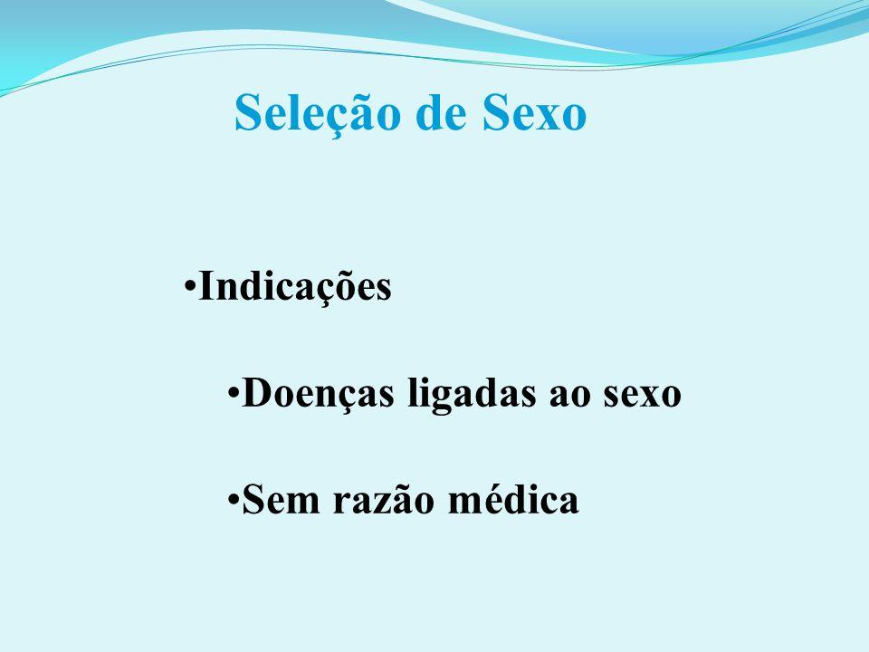 Seleção de Sexo Indicações Doenças ligadas ao sexo Sem razão médica