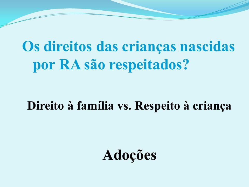 Os direitos das crianças nascidas por RA são respeitados? Direito à família vs. Respeito à criança Adoções