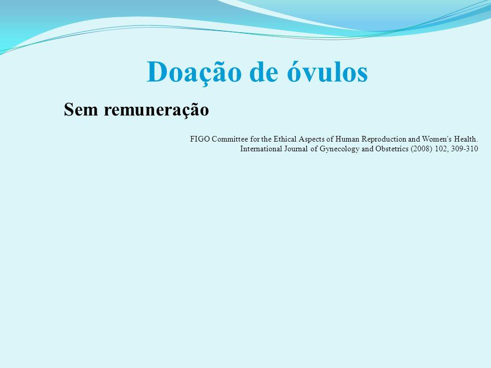 Doação de óvulos Sem remuneração FIGO Committee for the Ethical Aspects of Human Reproduction and Women's Health. International Journal of Gynecology