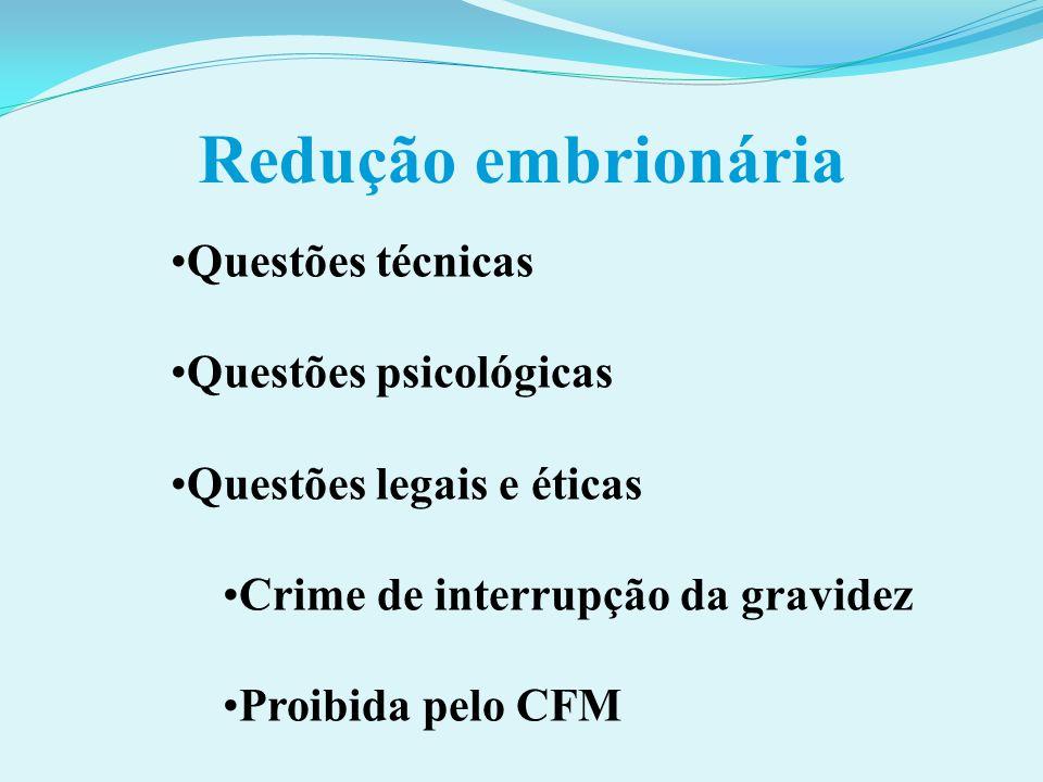 Redução embrionária Questões técnicas Questões psicológicas Questões legais e éticas Crime de interrupção da gravidez Proibida pelo CFM