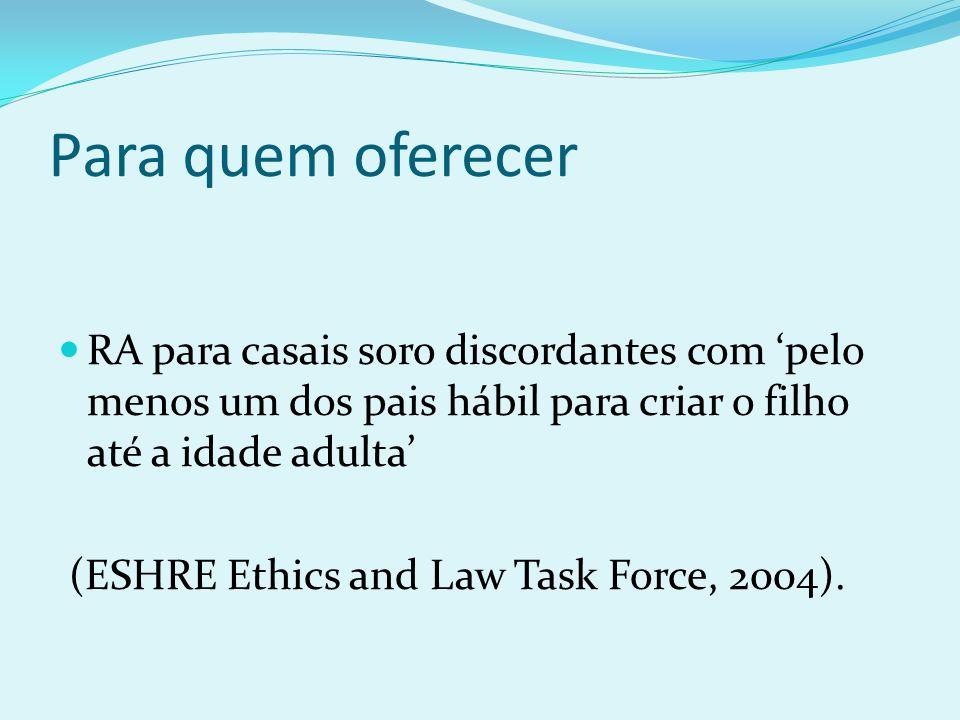 Para quem oferecer RA para casais soro discordantes com pelo menos um dos pais hábil para criar o filho até a idade adulta (ESHRE Ethics and Law Task