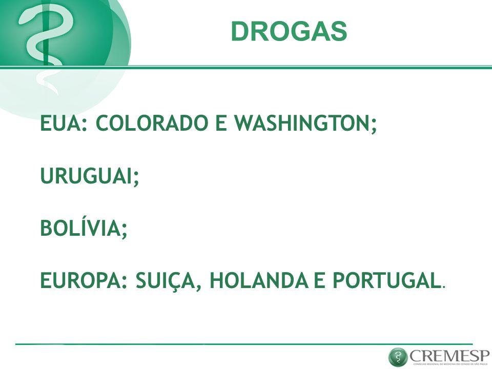EUA: COLORADO E WASHINGTON; URUGUAI; BOLÍVIA; EUROPA: SUIÇA, HOLANDA E PORTUGAL. DROGAS