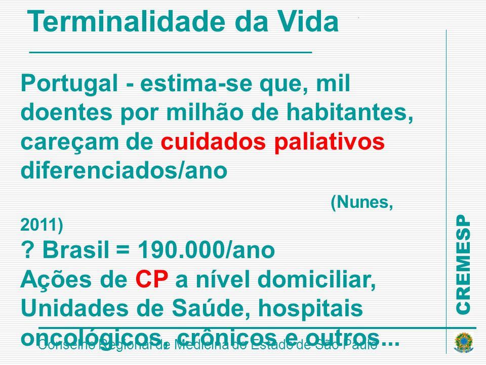CREMESP Conselho Regional de Medicina do Estado de São Paulo Terminalidade da Vida Portugal - estima-se que, mil doentes por milhão de habitantes, car